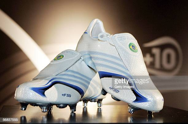 Ze Roberto`s new shoes are displayed during the Major adidias F50 Tunit Launch Event on February 13 2006 in Munich Germany