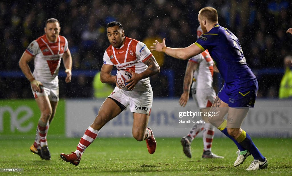 Zeb Taia of St Helens during the Betfred Super League between Warrington Wolves and St Helens on March 9, 2018 in Warrington, England.