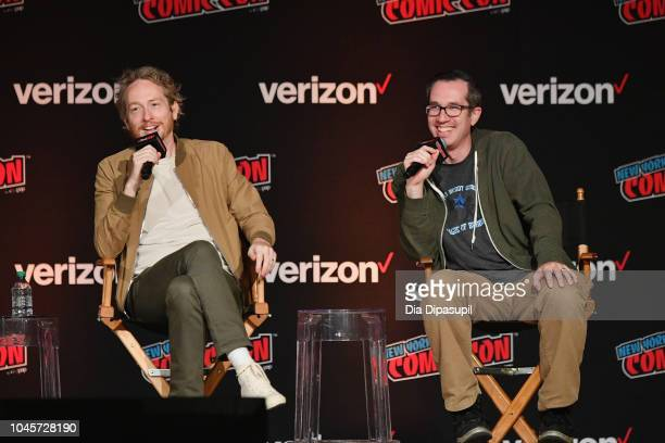 Zeb Wells and Matthew Senreich speak onstage at the Sony Crackle Presents SuperMansion panel during New York Comic Con 2018 at Jacob K Javits...