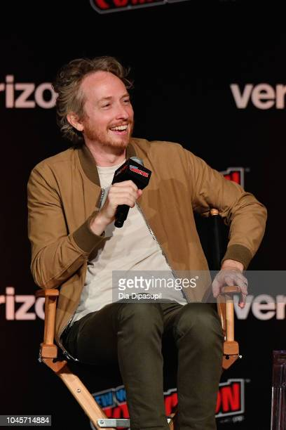 Zeb Wells speaks onstage at the Sony Crackle Presents SuperMansion panel during New York Comic Con 2018 at Jacob K Javits Convention Center on...