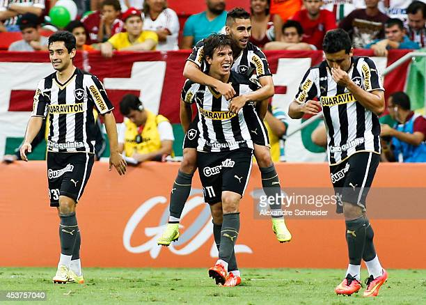 Zeballos of Fluminense celebrates his first goal during the match between Botafogo and Fluminense for the Brazilian Series A 2014 at Mane Garrincha...