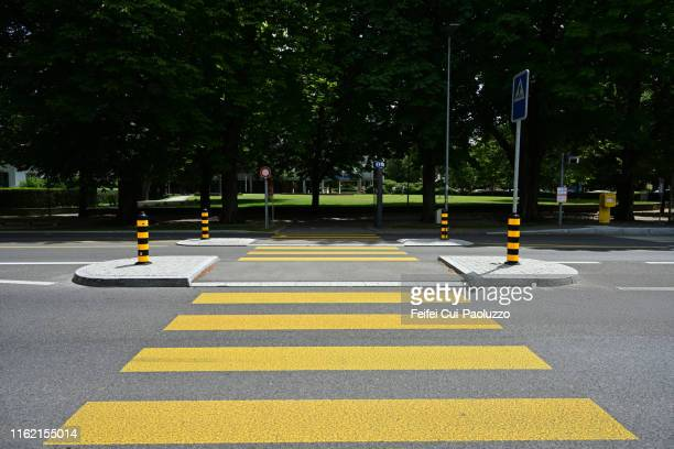 zebra crossing at downtown biel, switzerland - zebrapad stockfoto's en -beelden