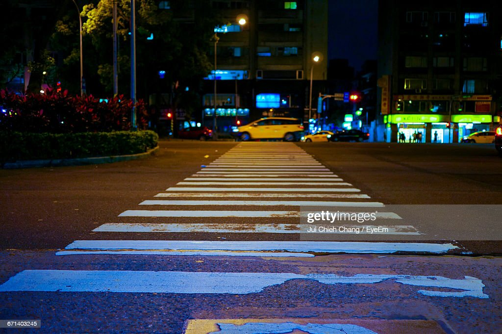 Zebra Crossing Lines On Road : Stock Photo