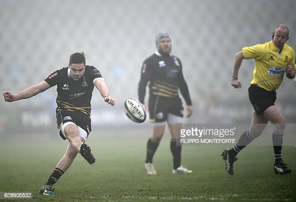 Zebre Parma's Carlo Canna scores during the European Rugby Champions Cup Pool 2 round 3 match Zebre Rugby vs Stade Toulousain at the Lanfranchi...