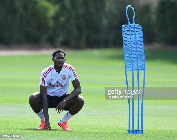 Zech Medley of Arsenal during a training session at London Colney on May 26 2020 in St Albans England