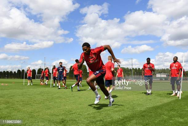 Zech Medley of Arsenal during the Arsenal Training Session at London Colney on July 02, 2019 in St Albans, England.