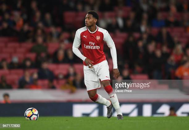 Zech Medley of Arsenal during the match between Arsenal and Blackpool at Emirates Stadium on April 16 2018 in London England