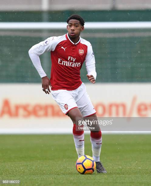Zech Medley of Arsenal during the match between Arsenal U23 and Chelsea U23 at London Colney on March 17 2018 in St Albans England