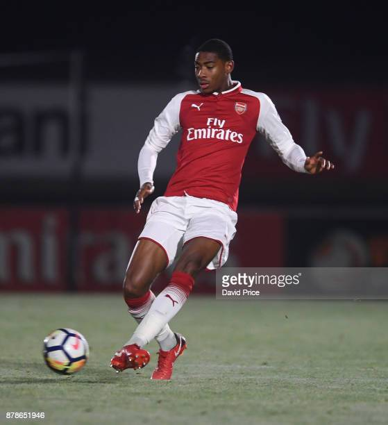 Zech Medley of Arsenal during the Premier League Two match between Arsenal U23 and West Ham United U23 at Meadow Park on November 24 2017 in...