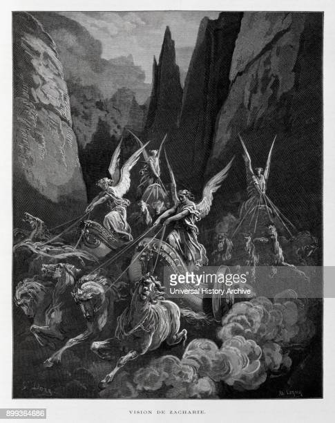 Zechariah's vision of the Four Horsemen of the ApocalypseZechariah 61–8 Illustration from the Dore Bible 1866 In 1866 the French artist and...
