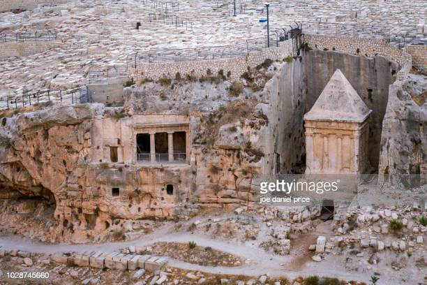 zecharias' tomb, mount of olives, jerusalem, israel - mount of olives stock photos and pictures