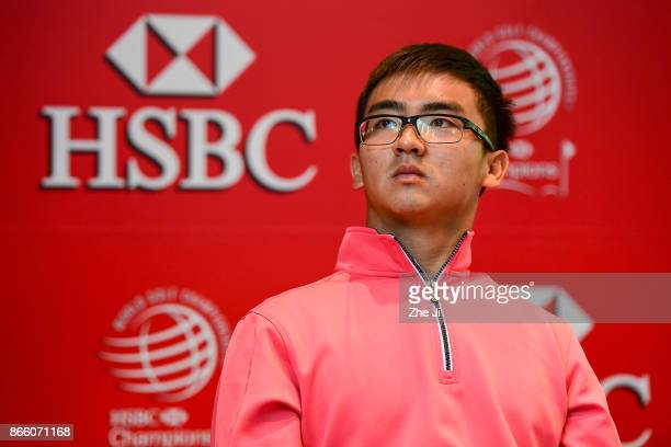 Zecheng Dou Chinese player at the PGA TOUR press conference during the WGC HSBC Champions at Sheshan International Golf Club on October 25 2017 in...