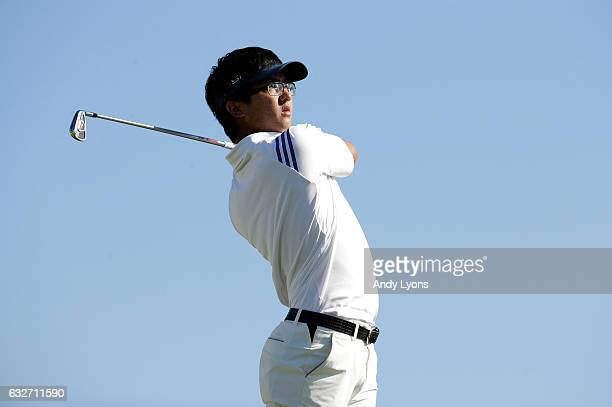 Zecheng Dou of China hits his tee shot on the 10th hole during the final round of The Bahamas Great Abaco Classic at the Abaco Club on January 25...