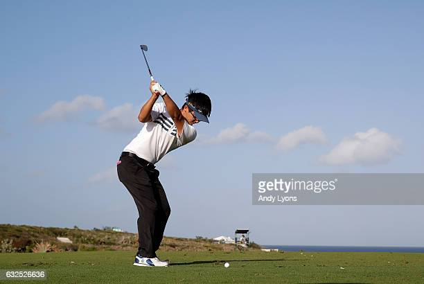 Zecheng Dou of China hits his tee shot on the 17th hole during the second round of The Bahamas Great Abaco Classic at the Abaco Club on January 23...