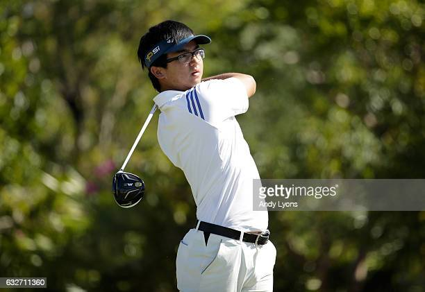 Zecheng Dou of China hits his tee shot on the third hole during the final round of The Bahamas Great Abaco Classic at the Abaco Club on January 25...