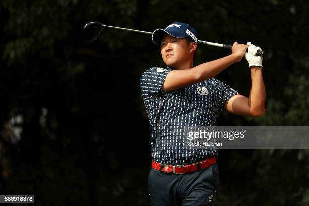 Zecheng Dou of China plays a shot during the second round of the WGC HSBC Champions at Sheshan International Golf Club on October 27 2017 in Shanghai...