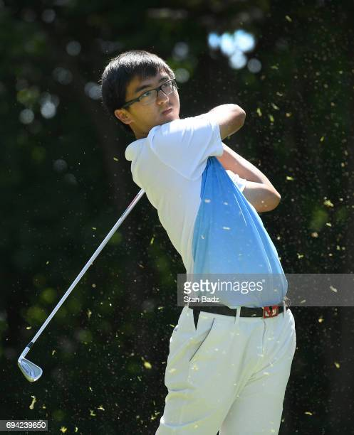 Zecheng Dou plays a shot on the fourth hole during the second round of the Webcom Tour RustOleum Championship at Ivanhoe Club on June 9 2017 in...