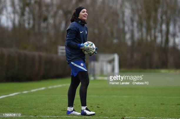 Zecira Musovic of Chelsea reacts during a Chelsea FC Women's Training Session at Chelsea Training Ground on January 11, 2021 in Cobham, England.