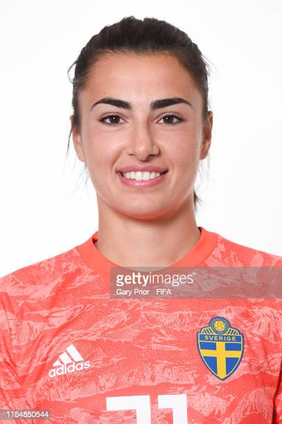 Zecira Musovic of Sweden poses for a portrait during the official FIFA Women's World Cup 2019 portrait session at Hotel Mercure Rennes Centre Gare on...