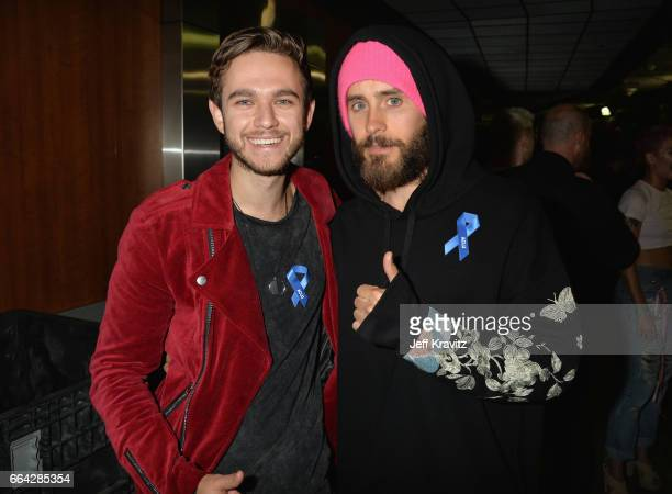 Zedd and Jared Leto pose backstage at WELCOME Fundraising Concert Benefiting The ACLU presented by Zedd at Staples Center on April 3 2017 in Los...