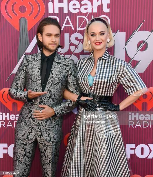 Zedd and Katy Perry attend the 2019 iHeartRadio Music Awards which broadcasted live on FOX at Microsoft Theater on March 14 2019 in Los Angeles...