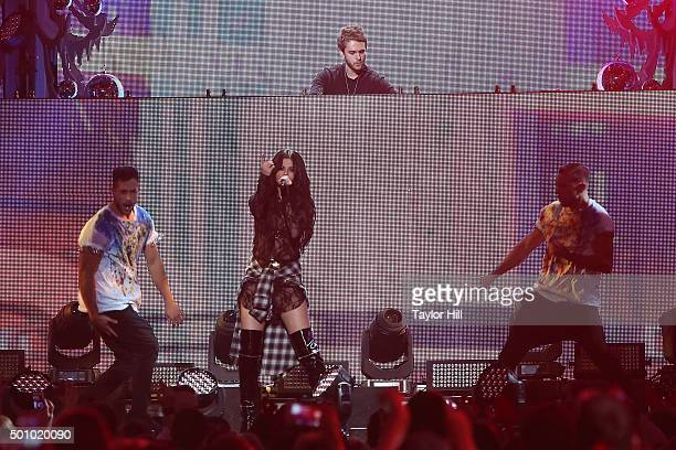 Zedd and Selena Gomez perform during the 2015 Z100 Jingle Ball at Madison Square Garden on December 11 2015 in New York City