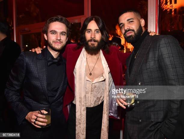 Zedd Jared Leto and Drake attend the 2018 Vanity Fair Oscar Party hosted by Radhika Jones at Wallis Annenberg Center for the Performing Arts on March...
