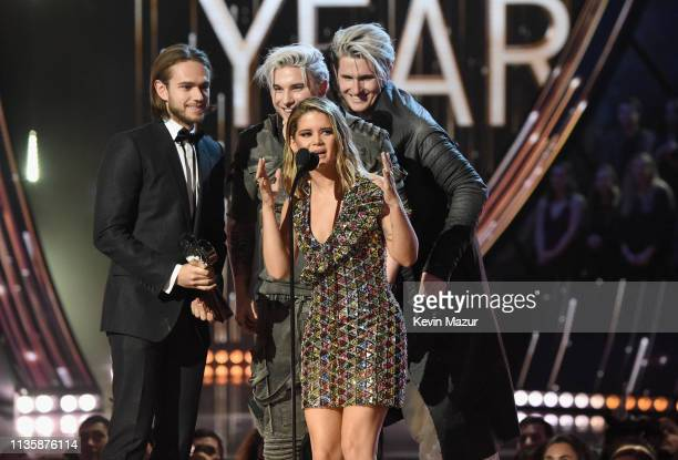 Zedd Kyle Trewartha Maren Morris and Michael Trewartha accept the Song of the Year award on stage at the 2019 iHeartRadio Music Awards which...