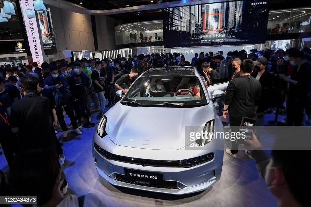 Zeekr 001 car is on displayed during the 19th Shanghai International Automobile Industry Exhibition, also known as Auto Shanghai 2021, at National...