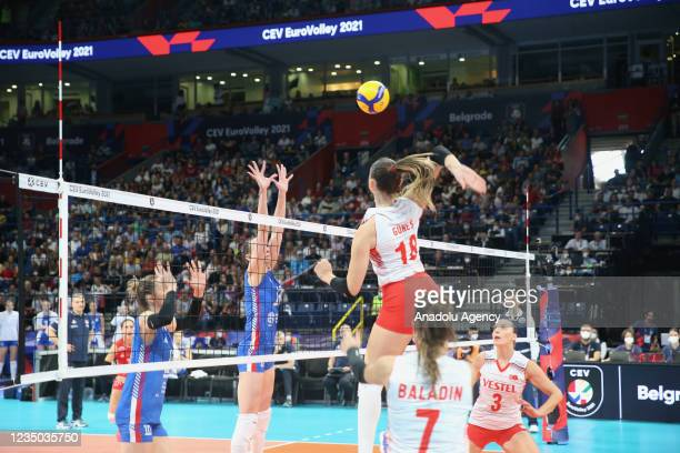 Zehra Gunes of Turkey competes during the CEV Women's European Volleyball Championship semi-final match between Serbia and Turkey at Stark arena in...