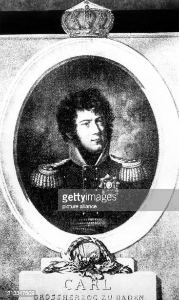 Zeitgenössisches Porträt von Großherzog Carl Ludwig von Baden. Er wurde 1786 geboren und starb 1818. Er war mit Stephanie de Beauharnais verheiratet.