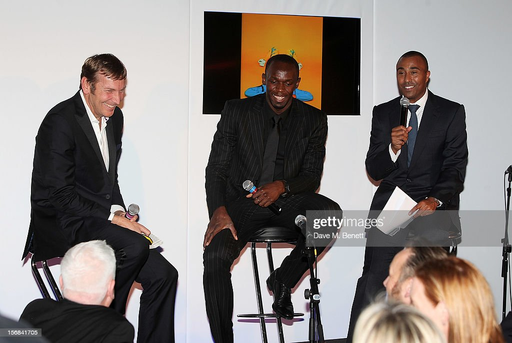 (L to R) Zeitz Foundation founder Jochen Zeitz, Usain Bolt and Colin Jackson attend the Zeitz Foundation and ZSL Gala at London Zoo on November 22, 2012 in London, England.
