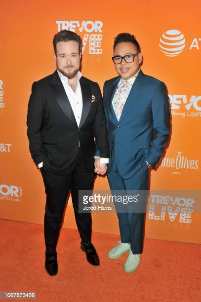 Zeke Smith and Nico Santos attend the Trevor Project's TrevorLIVE LA 2018 at The Beverly Hilton Hotel on December 3 2018 in Beverly Hills California