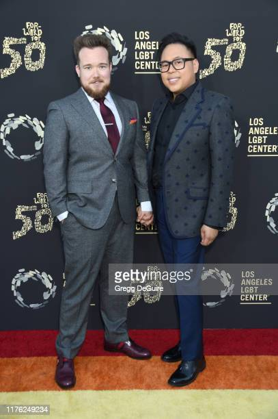 Zeke Smith and Nico Santos attends Los Angeles LGBT Center Celebrates 50th Anniversary With Hearts Of Gold Concert Multimedia Extravaganza at The...