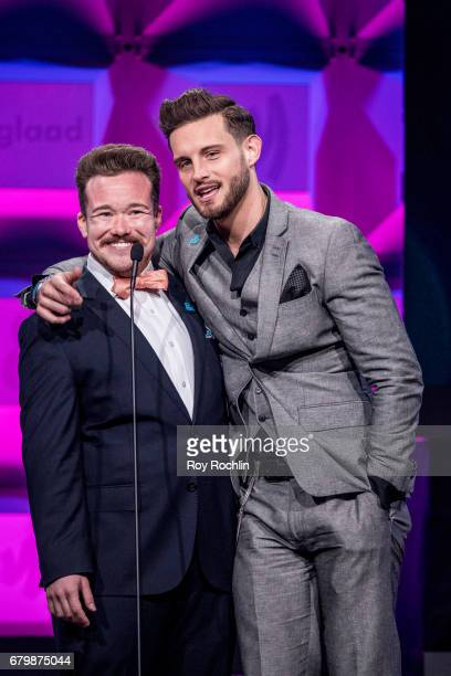 Zeke Smith and Nico Tortorella on stage during the 28th Annual GLAAD Awards at New York Hilton Midtown on May 6 2017 in New York City