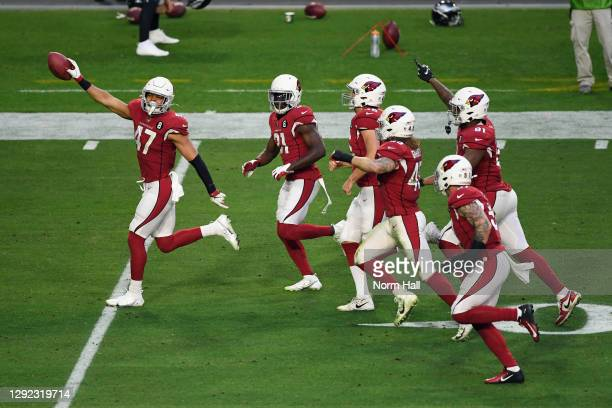 Zeke Turner and the Arizona Cardinals celebrates after a fake punt conversion against the Philadelphia Eagles during the fourth quarter at State Farm...