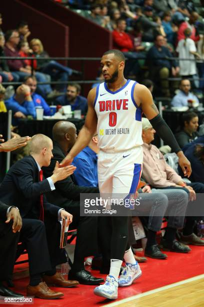 Zeke Upshaw of the Grand Rapids Drive during the game against the Greensboro Swarm at the DeltaPlex Arena on March 23 2018 in Grand Rapids Michigan...