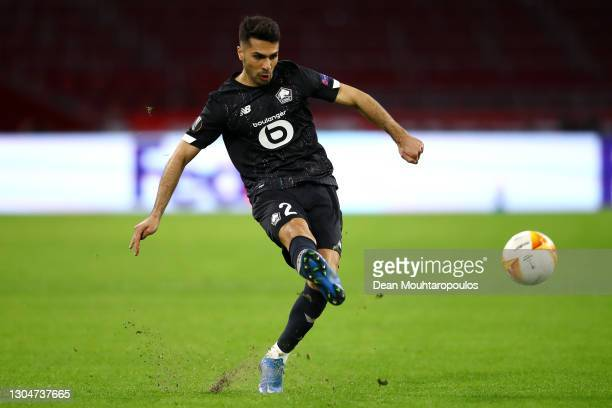 Zeki Celik of Lille in action during the UEFA Europa League Round of 32 match between AFC Ajax and Lille OSC at Johan Cruyff Arena on February 25,...