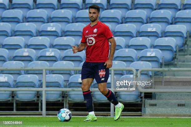 Zeki Celik of LOSC Lille controls the ball during the Pre-Season Friendly match between SL Benfica and Lille at Estadio Algarve on July 22, 2021 in...