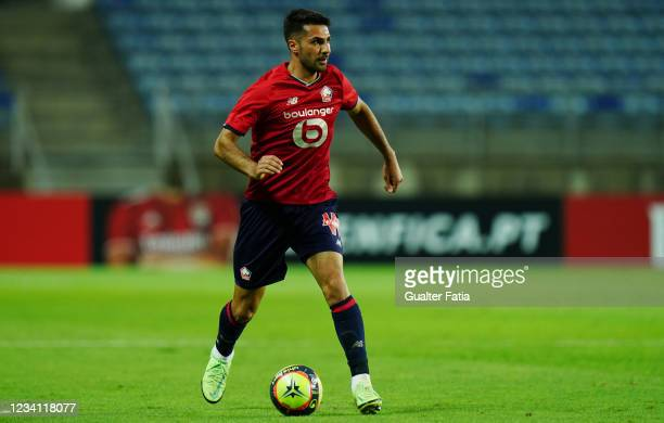 Zeki Celik of LOSC Lille in action during the Pre-Season Friendly match between SL Benfica and Lille at Estadio Algarve on July 22, 2021 in Loule,...