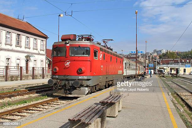 Zeleznice Srbije Class 441 locomotive 441-752 stands at Belgrade Main Railway Station with a short local train.