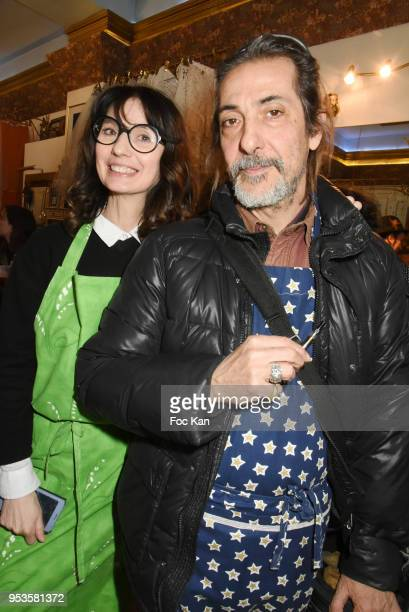 Zelia Van den Bulke and Nicolas Baby from FFF band attend Zelia Van Den Bulke Aprons show At Zelia Abbesses Shop on May 1, 2018 in Paris, France. .