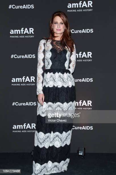 Zelika Garcia director of Zona Maco poses during the amfAR gala dinner at the house of collector and museum patron Eugenio López on February 5 2019...