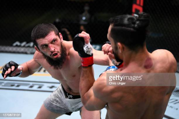 Zelim Imadaev of Russia punches Michel Pereira of Brazil in a welterweight fight during the UFC Fight Night event at UFC APEX on September 05, 2020...