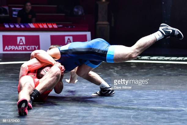 Zelimkhan Khadjiev of France and Svetoslav Dimitrov of Bulgaria during the International wrestling test match between France and Bulgaria at Le...
