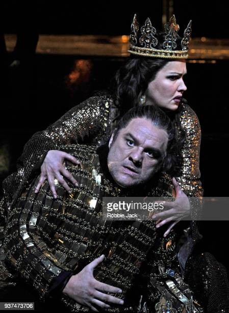 Zeljko Lucic as Macbeth and Anna Netrebko as Lady Macbeth in the Royal Opera's production of Giuseppe Verdi's Macbeth directed by Phyllida Lloyd and...