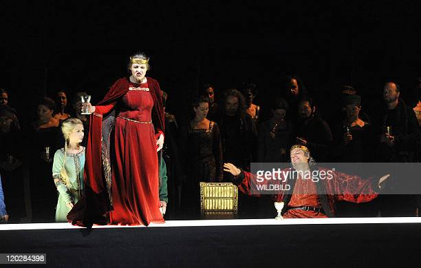 Zeljko Lucic performs the role of Macbeth and Tatjana Seran as Lady Macbeth during a dress rehearsal of Guiseppe Verdi's opera 'Macbeth', directed by...