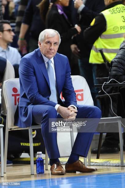 Zeljko Obradovic coach of Fenerbahce Ulker Istanbul during the 2016/2017 Turkish Airlines Euroleague Regular Season Round 29 game between Real Madrid...