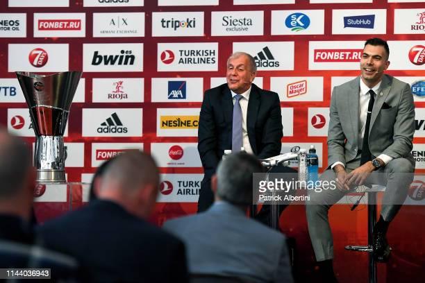 Zeljko Obradovic Head Coach of Fenerbahce Beko Istanbul and Kostas Sloukas #16 of Fenerbahce Beko Istanbul during the Turkish Airlines EuroLeague...