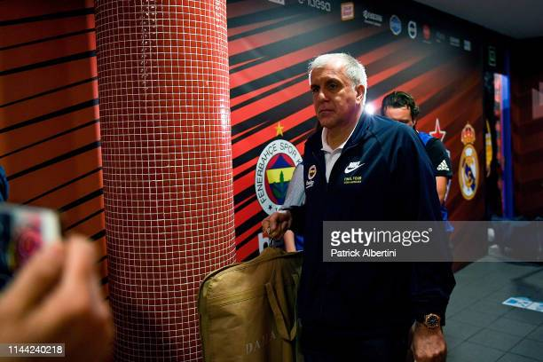 Zeljko Obradovic Head Coach of Fenerbahce Beko Istanbul arrives at Fernando Buesa Arena before the 2019 Turkish Airlines EuroLeague Final Four...